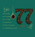 time counting card number 77 and pocket watch vector image vector image