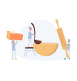 tiny chefs prepare autumn dishes from pumpkin vector image vector image