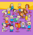 toddlers and kids cartoon characters group vector image
