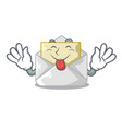 tongue out envelope opened on shape white mascot vector image