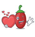 with heart goji berries mascot cartoon vector image