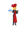woman cook with tray vector image