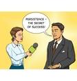 Woman reporter interviewing man comic book vector image vector image