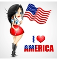 Woman waving American Flag vector image