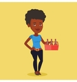 Woman with pack of beer vector image vector image