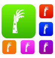 zombie hand set color collection vector image vector image