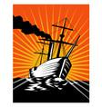 Sailing Ship Retro Woodcut vector image