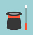 magician equipment wand and hat vector image