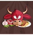 steak house with bull and meat vector image