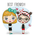 two cute cartoon girls vector image