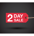 2 day sale sign vector image vector image