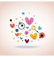 abstract art with cute cartoon hearts and dots vector image vector image