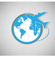 Airplane globe symbol design icon vector image