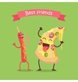 Best Friends Sausage on Stick and Pizza Dancing vector image