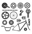 Bicycle repair parts set vehicle element icon