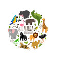 cartoon african animals printable banner vector image