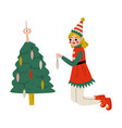 christmas elf character decorating christmas tree vector image vector image