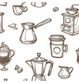coffee cups and beans sketch pattern background vector image vector image