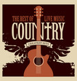country music poster with guitar and wings vector image vector image