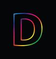 d letter rainbow alphabet logo abstract colorful