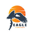 eagle logo design preys on fish vector image vector image