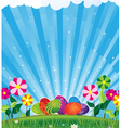 Easter eggs and shine vector image vector image