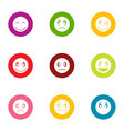 facecheck icons set flat style vector image vector image