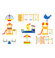 flat set of kids playground elements vector image vector image