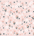 folk coral and white flowers on pink background vector image vector image