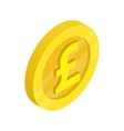 Gold coin with pound sign icon isometric 3d style vector image