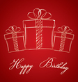 Happy birthday with gift box on a red background vector image vector image