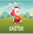happy easter card girl bunny egg landscape vector image