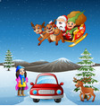 happy girl riding car in the snowing hill with san vector image