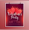 happy valentines day party flyer brochure vector image vector image