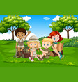 international camping kids in nature vector image vector image