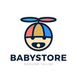 logo babys head in a hat with a propeller and a vector image vector image