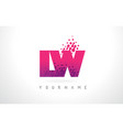 lw l w letter logo with pink purple color and vector image vector image