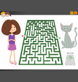 maze game with cartoon girl and pony horse vector image vector image