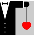 Mens suit with bow tie and heart vector image vector image