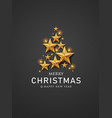 merry christmas and happy new year gold star vector image vector image