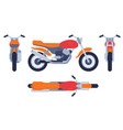 motorcycle in different positions motorbike top vector image vector image