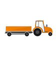 orange tractor with a trailer agricultural vector image vector image
