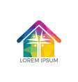 people home church logo design vector image vector image