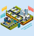 purification plant near city isometric composition vector image vector image