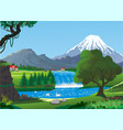 realistic landscape-swans on a mountain lake near vector image vector image
