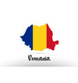 romania country flag inside map contour design vector image