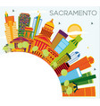 sacramento usa city skyline with color buildings vector image vector image