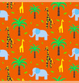 savannah animals child cute seamless pattern vector image vector image