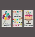 set beautiful colorful birthday invitation or vector image