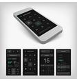 set black smartphone mobile user aplication vector image vector image